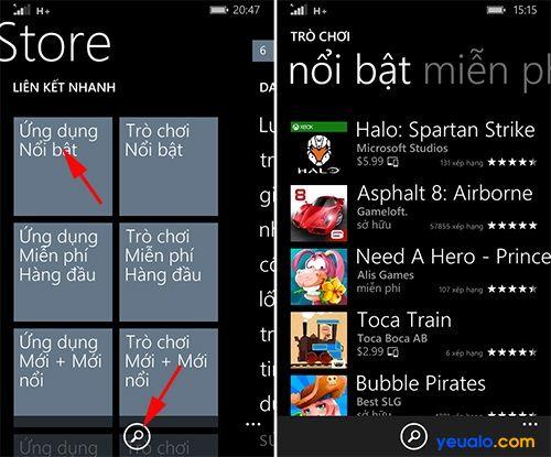 Cách tải và cài đặt game, ứng dụng trên các máy Lumia 2