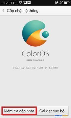 Cách cập nhật hệ điều hành phiên bản mới nhất cho điện thoại OPPO 5