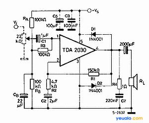 Sơ đồ nguyên lý sử dụng ampli TDA2030