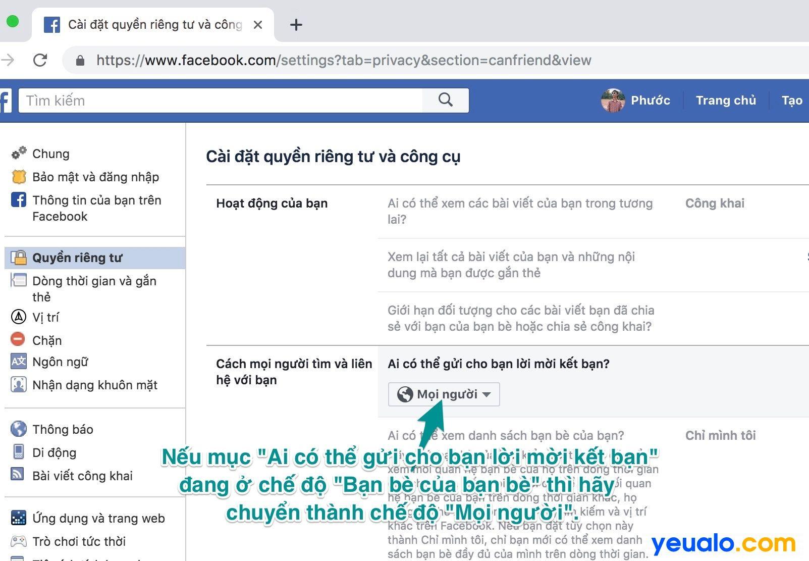 Cách khắc phục tại sao Facebook không có nút kết bạn trên máy tính 2
