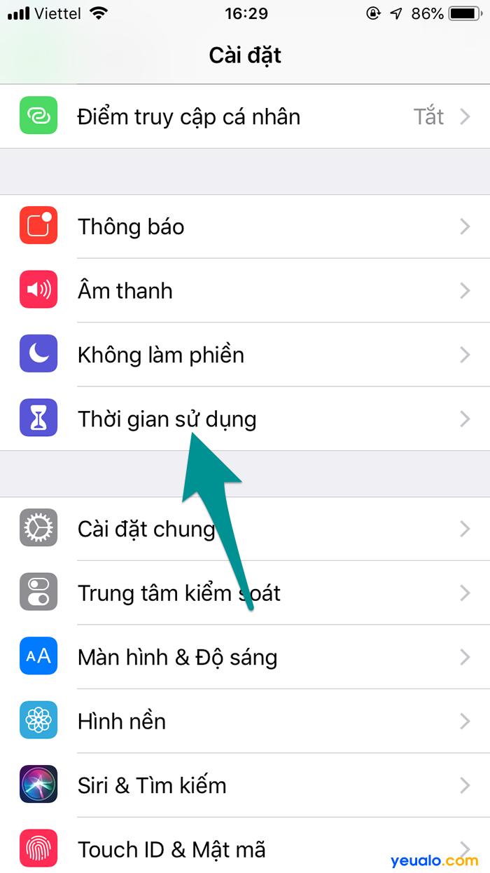 Cách Bật thời gian sử dụng iPhone 2