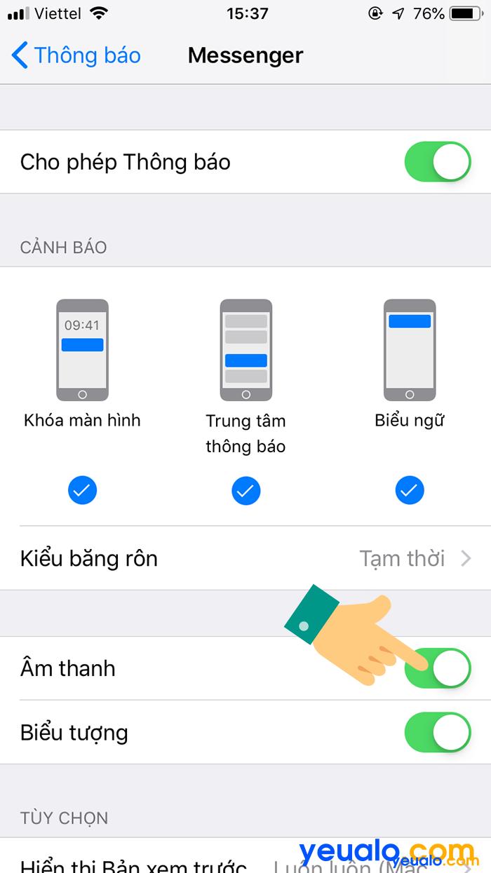 Cách Tắt âm thông báo Messenger trên iPhone 4
