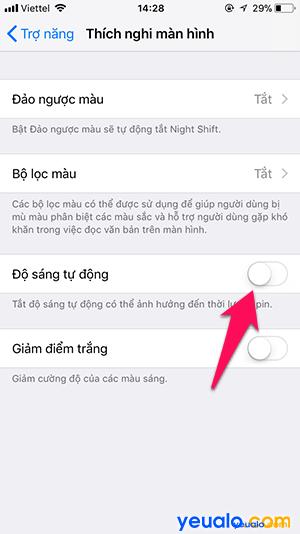 Cách tắt Độ sáng tự động iPhone 5