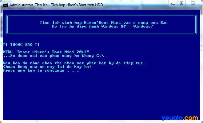 Hướng dẫn tích hợp CD Hiren Boot vào ổ cứng 1