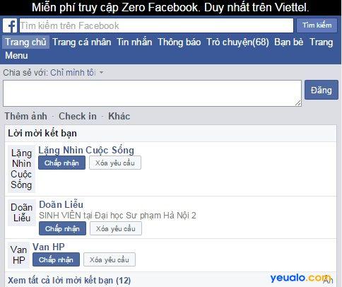 Vào Facebook miễn phí cước data với Zero Facebook