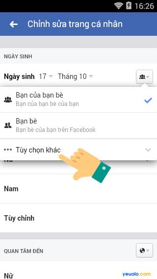 Cách ẩn ngày sinh năm sinh Facebook bằng điện thoại 7