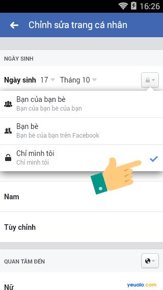 Cách ẩn ngày sinh năm sinh Facebook bằng điện thoại 8