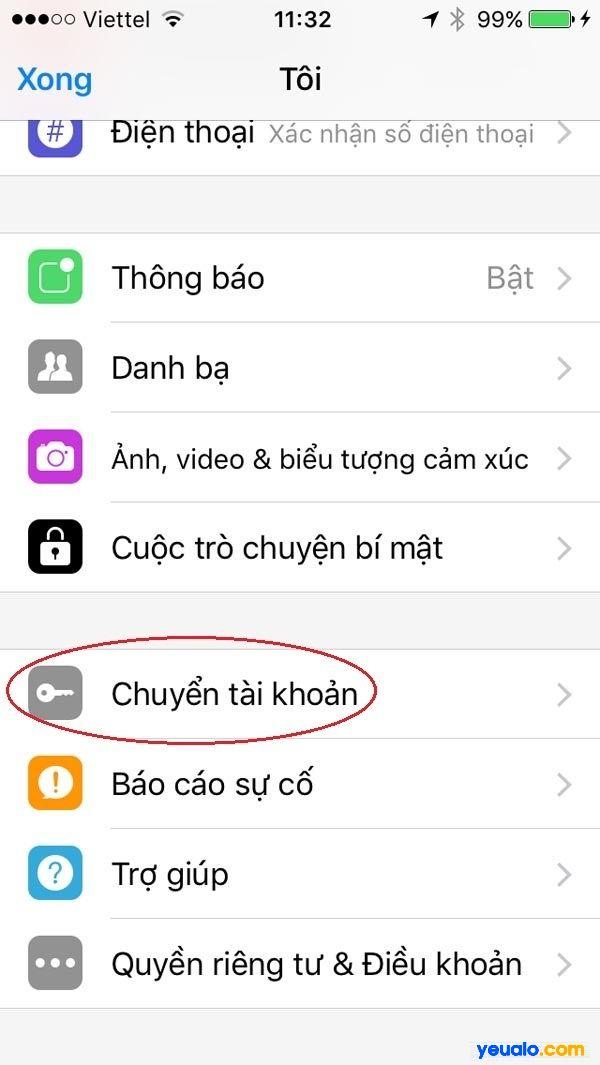 Chuyển tài khoản Messenger này sang Messenger khác
