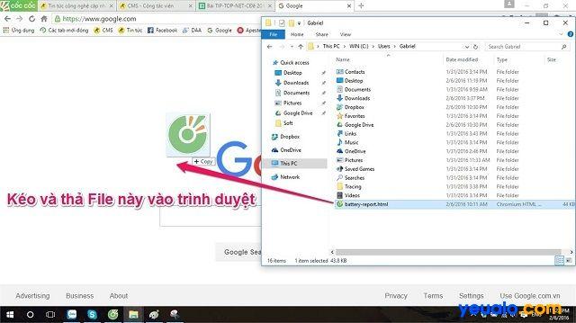 Kéo và thả file battery-report.html vào trong trình duyệt