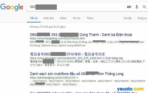 Tìm kiếm tên và địa chỉ của số điện thoại qua Google