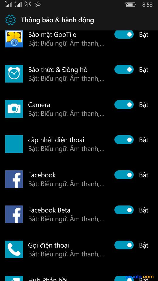 tắt bật thông báo hành động trên window phone 10