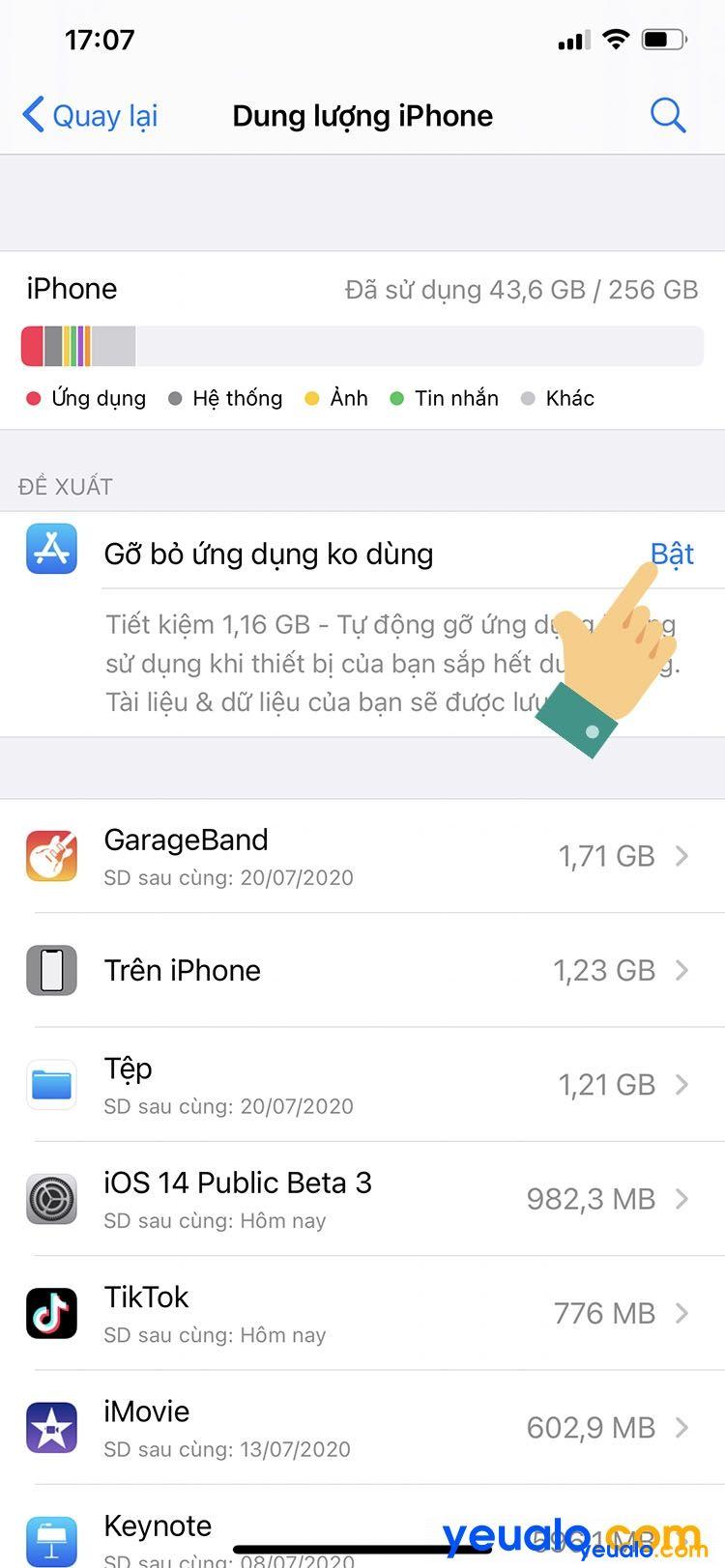 Cách tắt tự gỡ ứng dụng trên iPhone