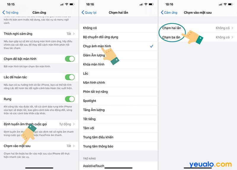 Cách cài đặt chạm vào mặt lưng iPhone để chụp màn hình, tăng, giảm âm lượng…