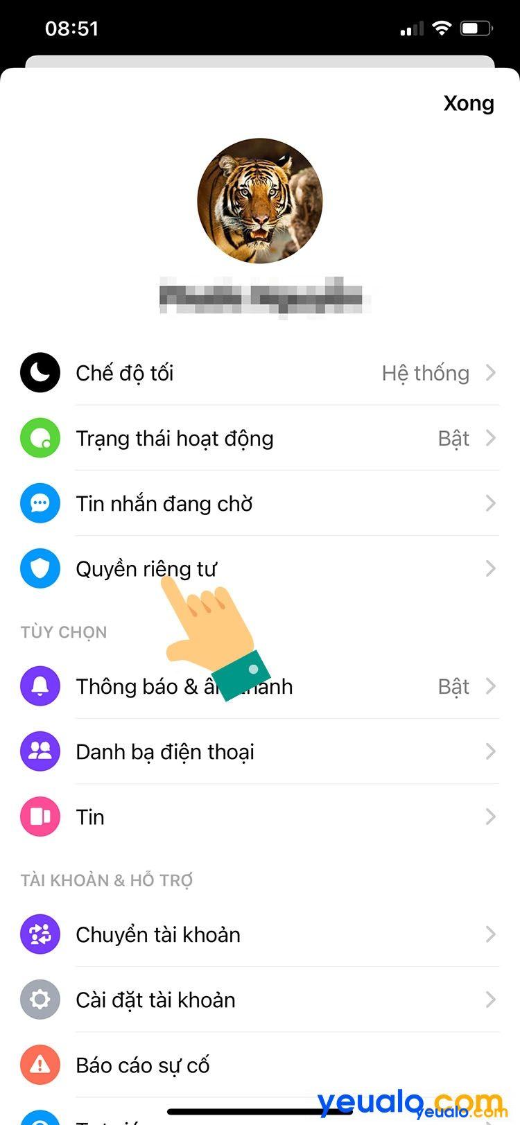 Cách cài mật khẩu Messenger cho iPhone 3