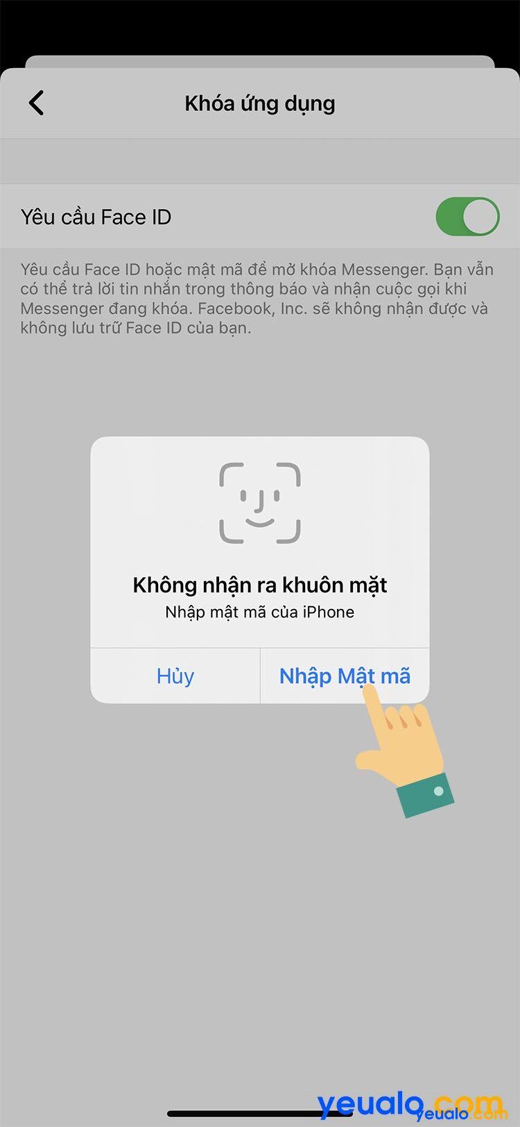 Cách cài mật khẩu Messenger cho iPhone 6