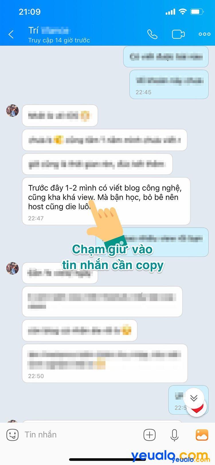 Cách copy tin nhắn trên Zalo