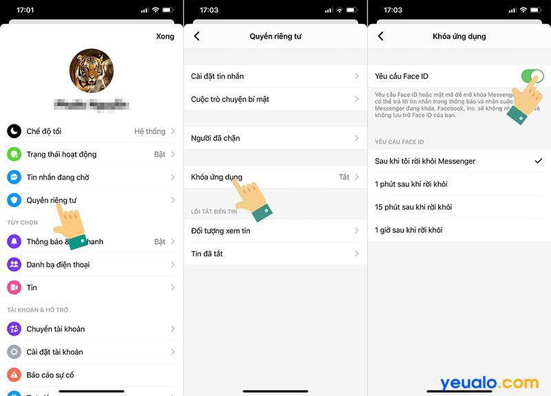 Cách khoá Messenger iPhone bằng Face ID, vân tay