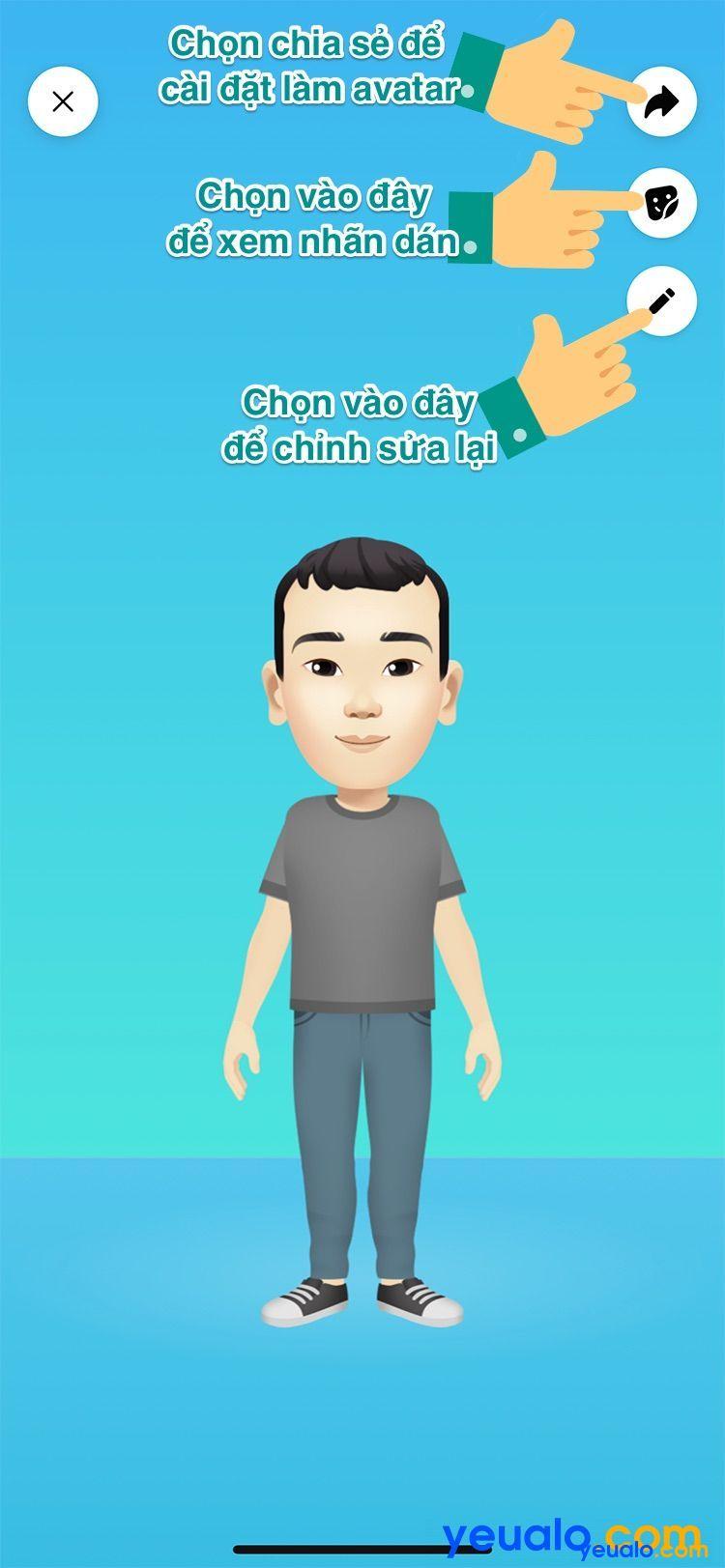 Cách làm avatar nhãn dán hoạt hình giống mình trên Facebook Messenger 9