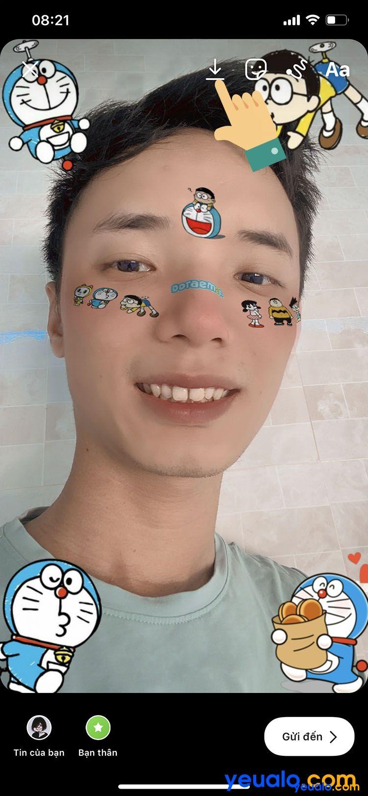 Cách lấy sticker Doraemon trên nền nhạc TikTok 9