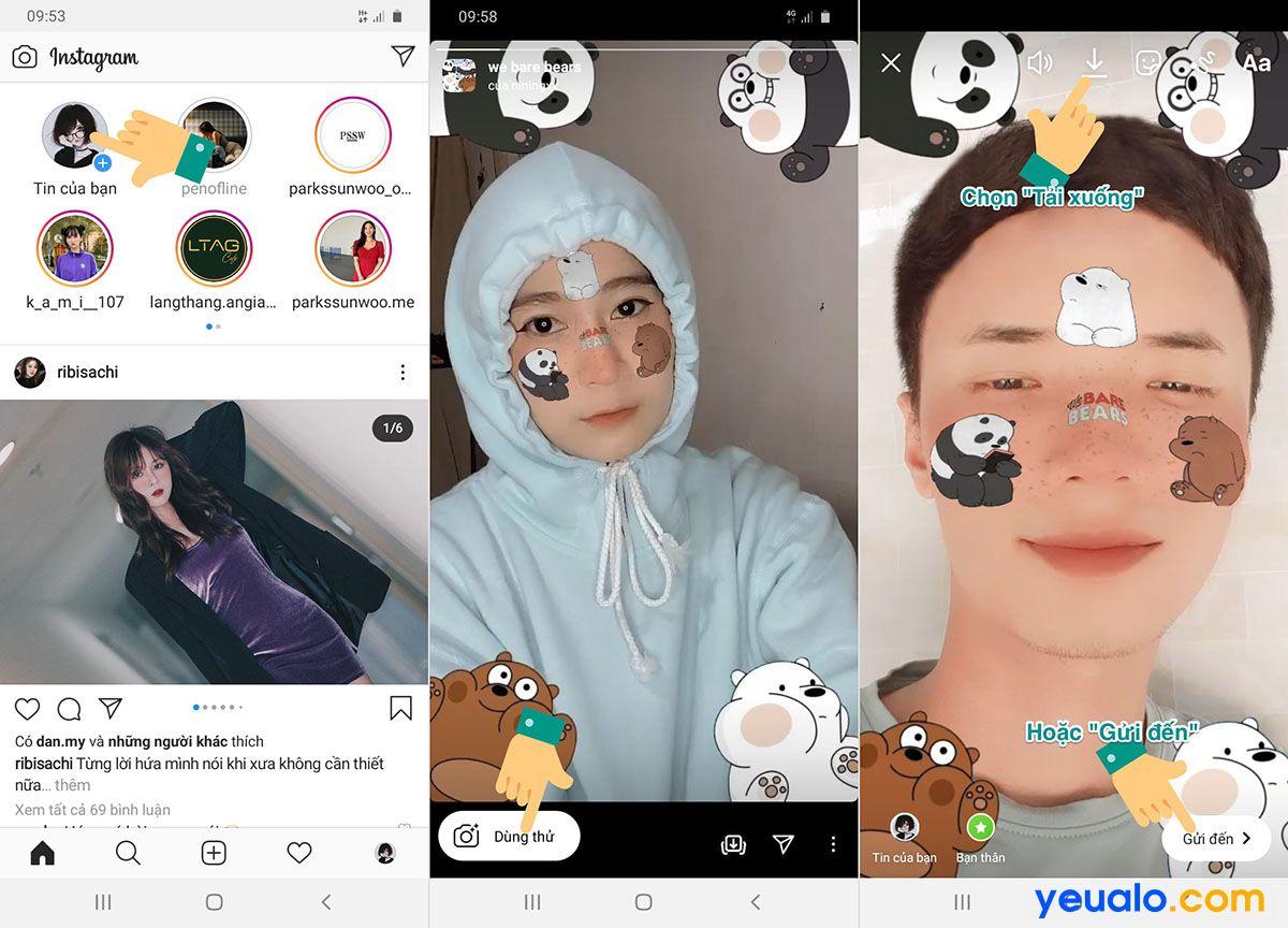 Cách chụp ảnh, quay video hình 3 con gấu trên instagram, TikTok