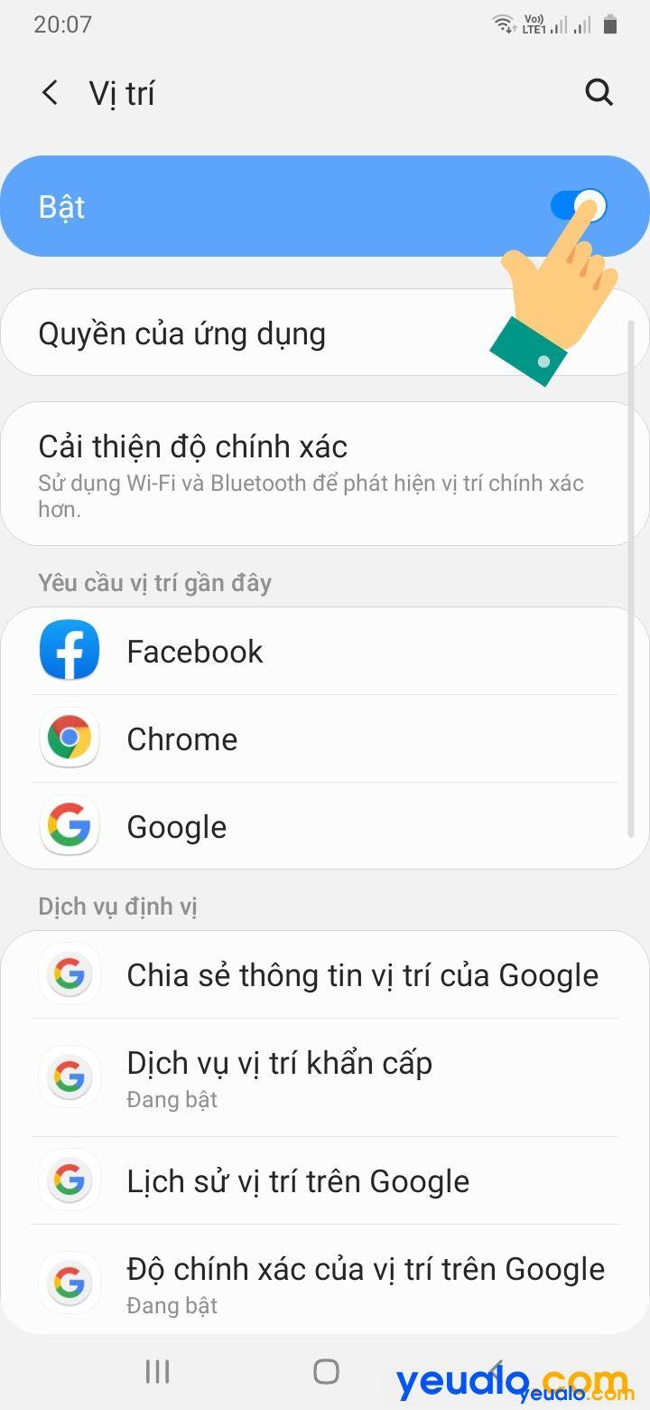 Cách bật Vị trí trên điện thoại Samsung 3