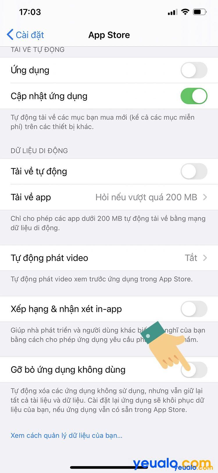 Cách tắt tự gỡ ứng dụng trên iPhone 3