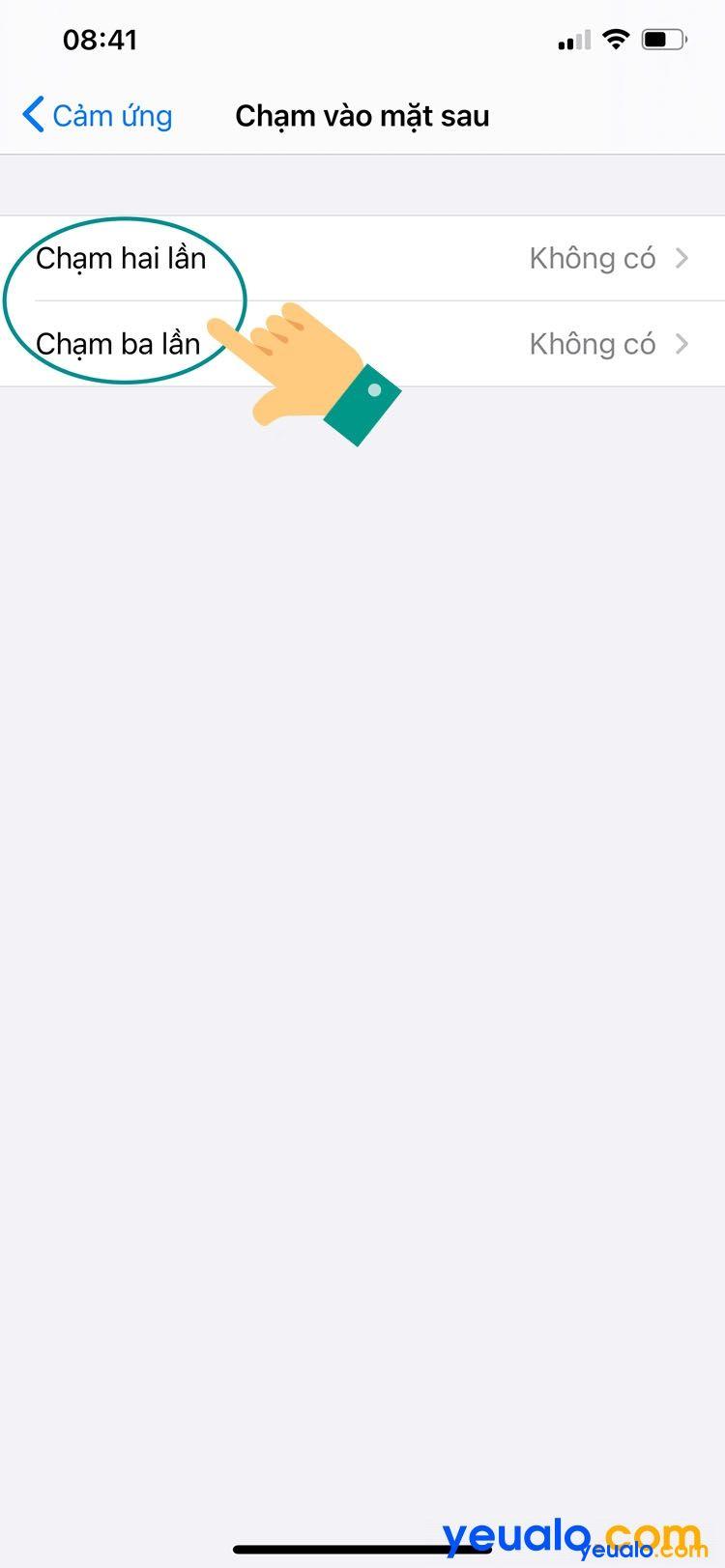 Khóa màn hình iPhone bằng cách chạm vào mặt lưng 5